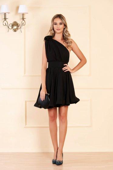 Fekete Ana Radu alkalmi egy vállas harang alakú ruha