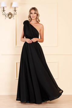 Fekete Ana Radu egy vállas luxus harang ruha muszlinból virágos díszekkel övvel ellátva
