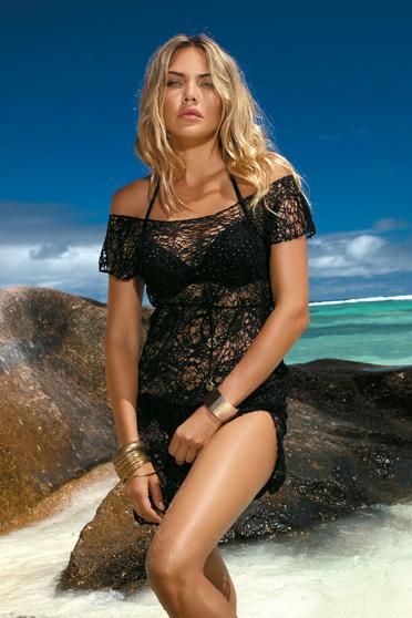 Fekete bő szabású strandi ruha csipkés anyagból derékban zsinórral köthető meg
