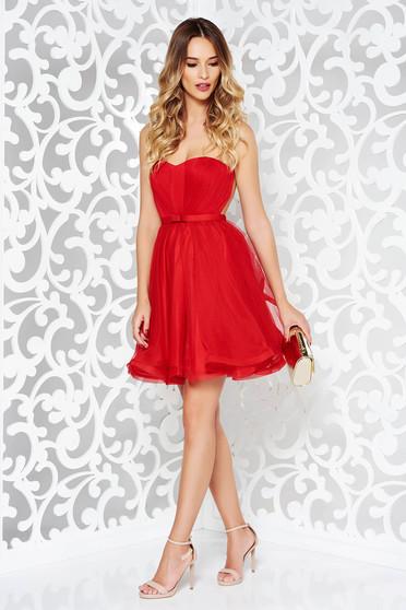 Piros alkalmi Ana Radu fűzős ruha szivacsos mellrész