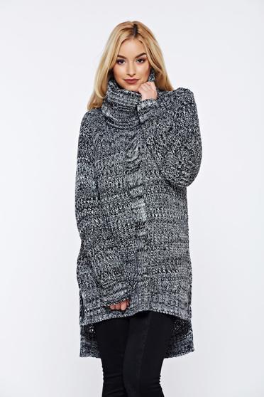 Fekete Top Secret pulóver hétköznapi aszimetrikus kötött