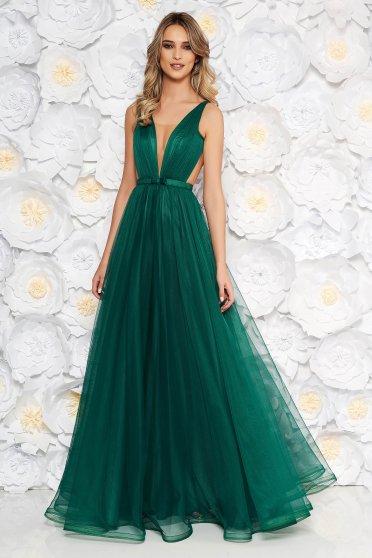 Zöld Ana Radu luxus ruha béléssel v-dekoltázzsal tüllből