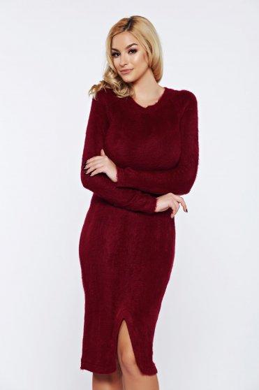 851d45c05b Burgundy PrettyGirl hétköznapi ruha kötött puha anyagból