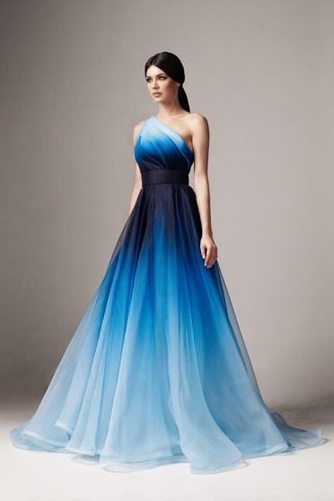 Kék Ana Radu hosszú egy vállas harang ruha belső béléssel övvel ellátva