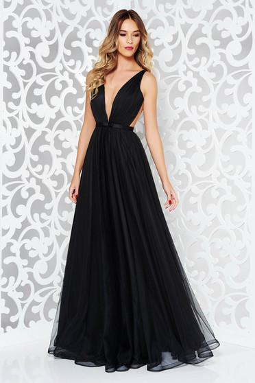 Fekete Ana Radu luxus ruha béléssel v-dekoltázzsal tüllből