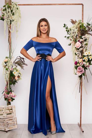 Alkalmi kék Artista ruha szatén anyagból hímzett betétekkel