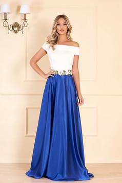 Kék Artista ruha hímzett betétekkel szatén anyagból