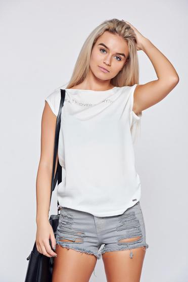 Fehér Top Secret póló hétköznapi feliratos bő szabású