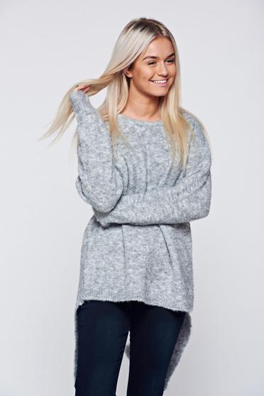 Hétköznapi kötött bő szabású bojtos szürke pulóver