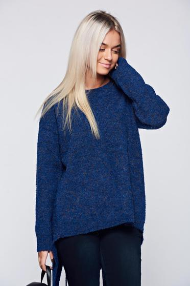 Hétköznapi kötött bő szabású bojtos kék pulóver