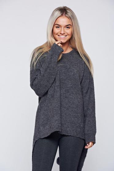 Hétköznapi kötött bő szabású bojtos sötétszürke pulóver