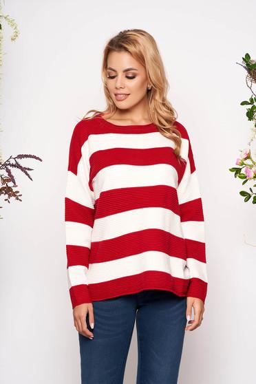 Piros csíkos bő szabású casual kötött rövid pulóver hosszú ujjakkal