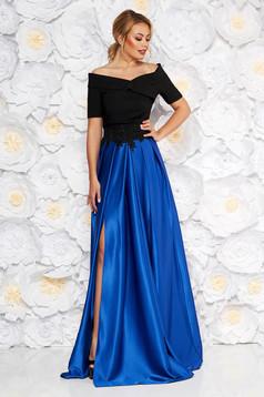 a82e325061 Kék Artista alkalmi bársony átfedéses váll nélküli ruha flitteres ...