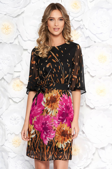 Barna StarShinerS elegáns ruha hétköznapi fátyol anyag virágmintás díszítéssel