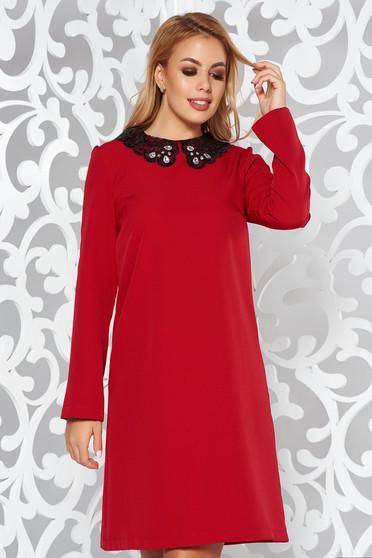 Piros StarShinerS hétköznapi elegáns ruha bő szabás