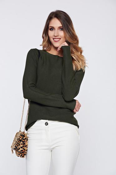 Sötétzöld bő szabás hétköznapi pulóver aszimetrikus