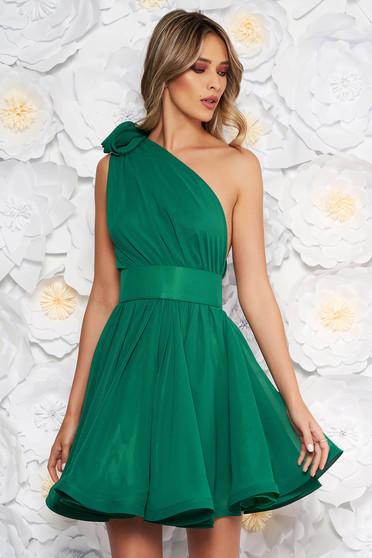 Zöld Ana Radu alkalmi egy vállas harang alakú ruha