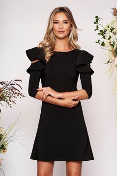 Fekete hétköznapi a-vonalú ruha fodros ujjakkal enyhén elasztikus szövetből
