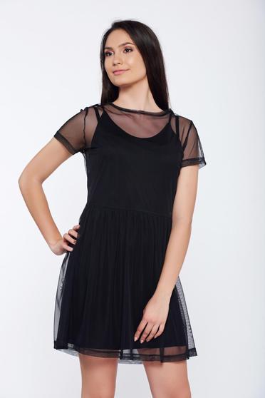 96707a16c4 Fekete Top Secret hétköznapi bő szabású tüll ruha