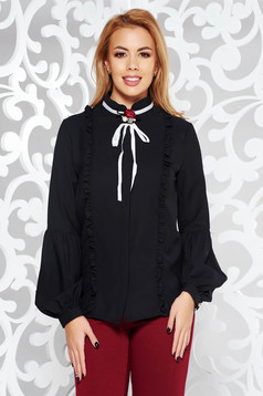 Fekete Fofy elegáns irodai női ing virág alakú bross