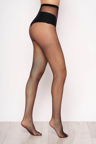 Fekete női harisnyanadrág háló típus rugalmas anyag lekerekitett sarku harisnya