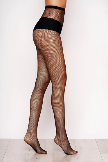 Fekete háló lekerekitett sarku harisnya női harisnyanadrág sima orrheggyel