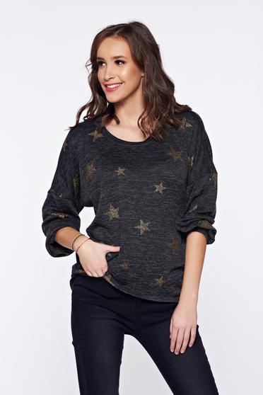 Sötétszürke PrettyGirl hétköznapi kötött aszimetrikus pulóver grafikai díszítéssel