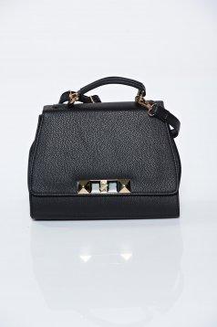 Fekete táska hétköznapi hosszú, állítható pánt fémes kiegészítő