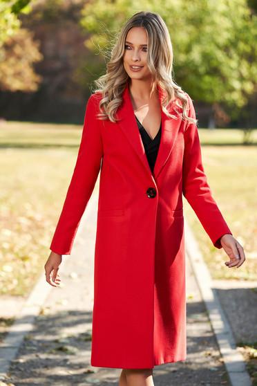 Piros gyapjú zsebes egyenes nagykabát béléssel
