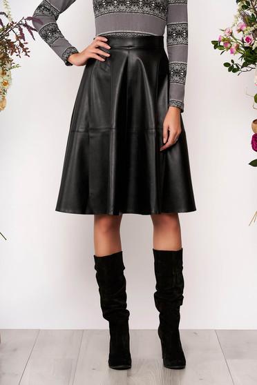 Fekete StarShinerS casual magas derekú midi harang szoknya műbőrből