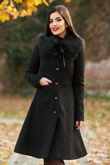 f084f7a879 Fekete LaDonna best impulse elegáns hímzett gyapjú belső béléssel nagykabát