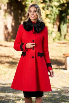 Piros best impulse zsebes elegáns nagykabát gyapjú béléssel hímzett betétekkel