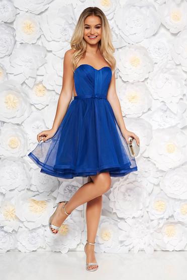 Kék alkalmi Ana Radu fűzős ruha szivacsos mellrész