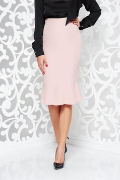 Rózsaszínű StarShinerS midi irodai magas derekú szűk szabásu szoknya