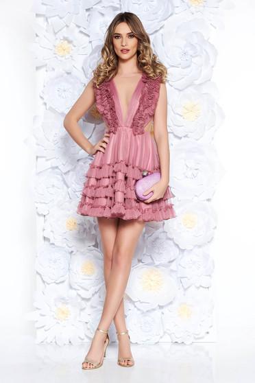 Rózsaszínű Ana Radu fodros alkalmi tüll ruha