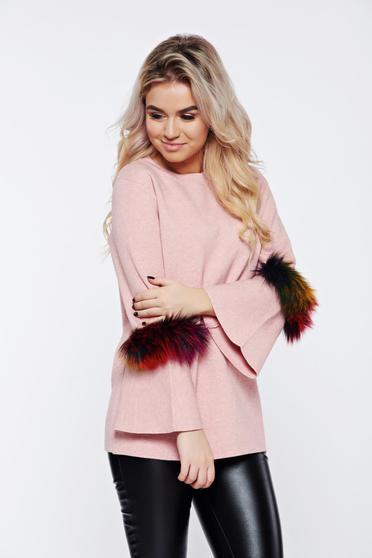 f5e2ef795c Rózsaszínű hétköznapi kötött pulóver műszőrme berakások