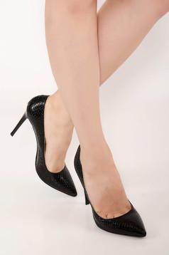 Fekete stiletto elegáns műbőr magassarkú cipő