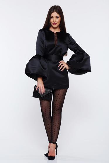 Fekete Ana Radu szatén női kosztüm övvel ellátva