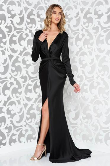 Fekete Ana Radu alkalmi ruha hosszú ujjak övvel ellátva