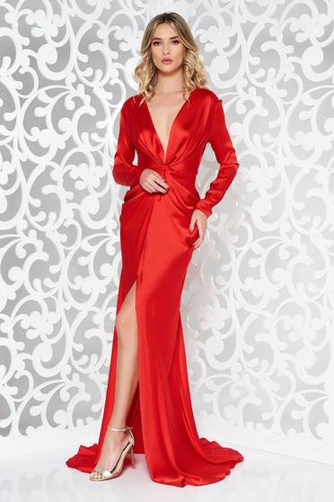Piros Ana Radu alkalmi ruha hosszú ujjak övvel ellátva