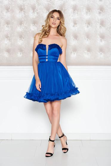 Kék Ana Radu alkalmi ruha tüll masni díszítéssel