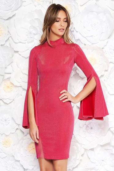 Rózsaszínű Artista rövid alkalmi ruha harang ujjakkal