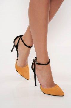Sárga valódi bőrből készült elegáns stiletto magassarkú cipő