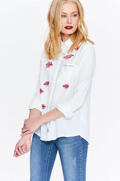 Fehér Top Secret női ing hétköznapi bő szabású hegyes gallér