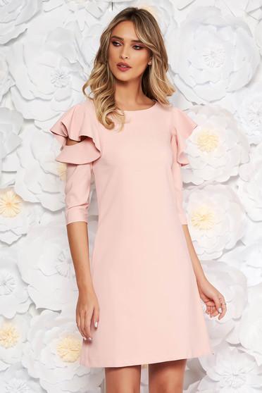 d10ff4fe00 Rózsaszínű LaDonna bő szabás ruha fodrozott ujjakkal