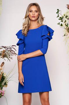 Kék hétköznapi a-vonalú ruha fodros ujjakkal enyhén elasztikus szövetből