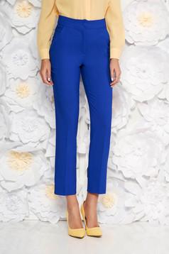 Kék irodai zsebes nadrág enyhén elasztikus szövet egyenes szabás