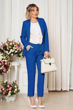 Kék irodai egyenes szabású zsebes nadrág enyhén rugalmas szövetből