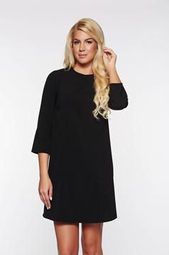 Fekete PrettyGirl elegáns bő szabás ruha masni díszítéssel