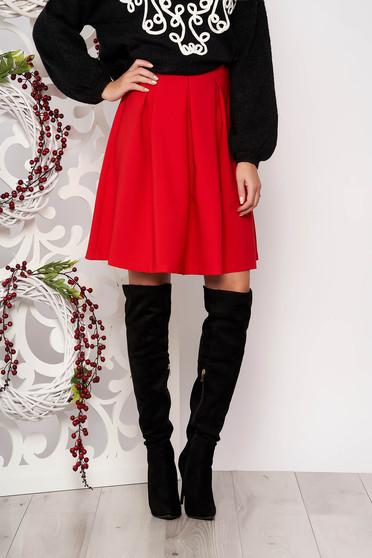 Piros Artista irodai midi harang szoknya enyhén elasztikus szövetból